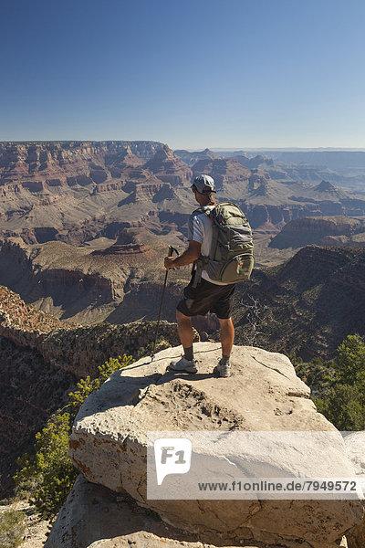 Felsbrocken  stehend  Mann  sehen  Landschaft  Wüste  Ansicht  Sonnenaufgang  Schlucht