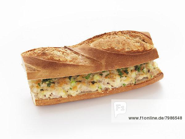 französisch  Brot  schmelzen  Thunfisch