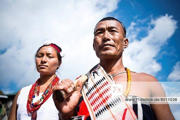 Mensch  Menschen  Tradition  Kleidung  Festival  Volksstamm  Stamm  Nashornvogel  Indien