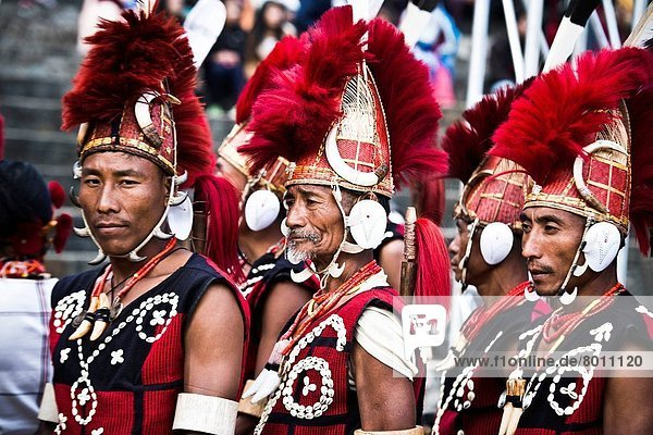 Naga tribesmen in traditional outfit during the annual Hornbill Festival at Kisama  Kohima  Nagaland  India