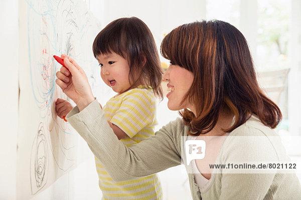 Mutter und Tochter Zeichnung