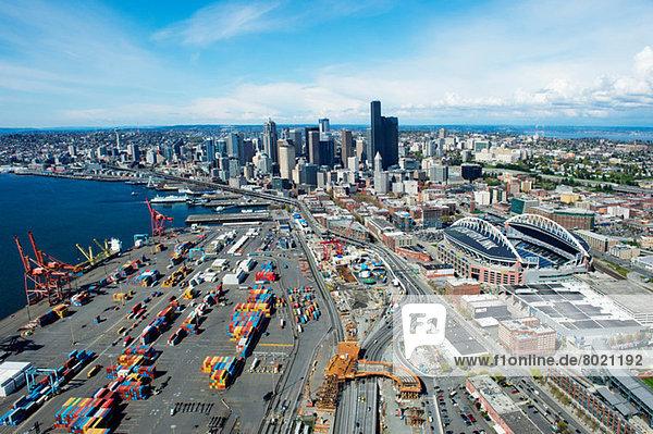 Luftaufnahme des Seehafens  Seattle  Washington State  USA