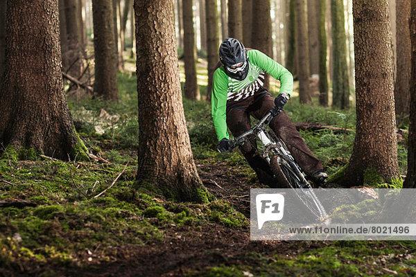 Mountainbike fahren durch Bäume