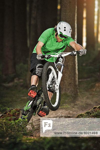 Mountainbike fahren auf dem Hinterrad durch den Wald