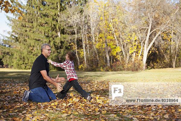 Spiel  Enkelsohn  Großvater  Herbst
