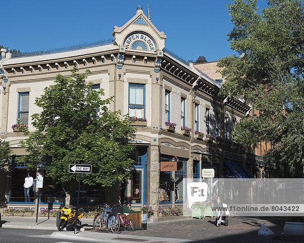 Downtown shopping district of Aspen  Colorado  USA