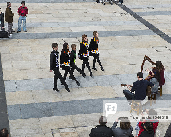 Irish dancers and musicians playing at Guildhall Square  Derry  County Londonderry  Northern Ireland  United Kingdom