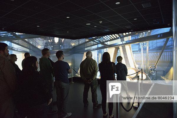 Visitors at Titanic Exhibition Centre  Belfast  Northern Ireland  United Kingdom
