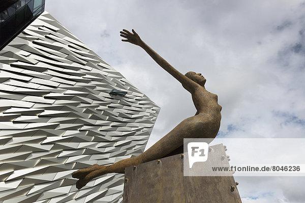 Sculpture near Titanic Exhibition Centre  Belfast  Northern Ireland  United Kingdom