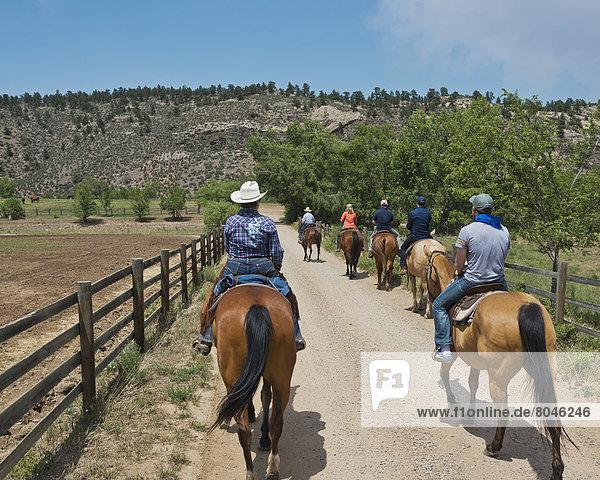 Horseback riding at Sylvan Dale Ranch  Loveland  Colorado  USA