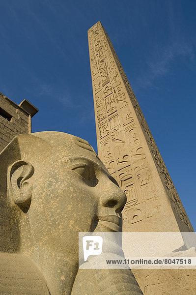 nebeneinander  neben  Seite an Seite  Eingang  Statue  groß  großes  großer  große  großen  Ägypten  Luxor  Obelisk
