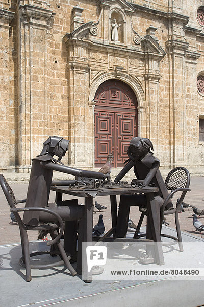Colombia  Statues in front of Church of San Pedro Claver  Cartagena
