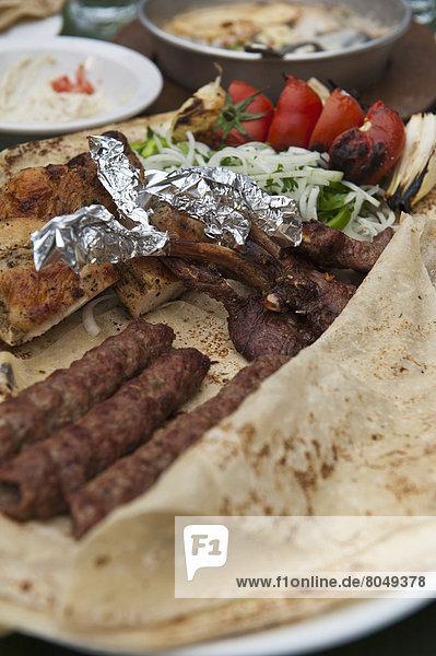 Mixed grill selection of meat  Al-Saraya Restaurant (Haret Jdoudna)  Madaba. Jordan