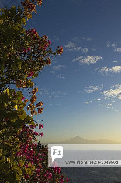 View of Mount Teide and island of Tenerife at sunrise  San Sebastian  La Gomera  Canary Islands  Spain