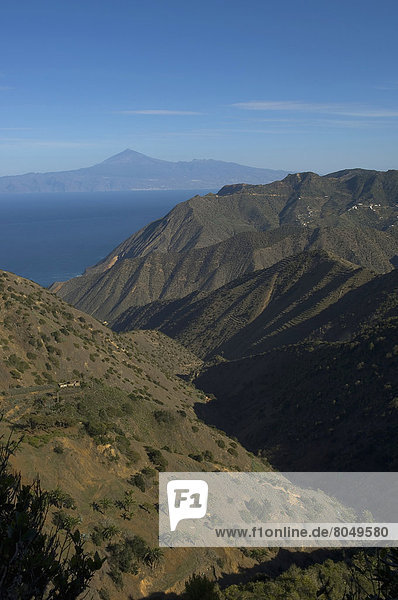island of Tenerife viewed from Vallehermoso trail  La Gomera  Canary Islands  Spain