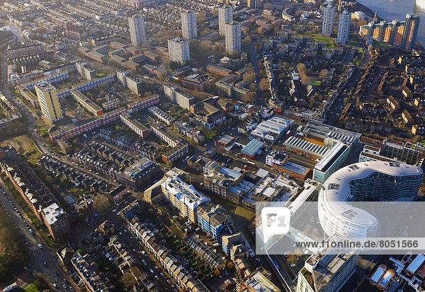 Luftaufnahme der Industriegüter  London  England  UK