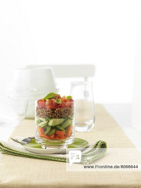 Vorspeise mit Karotten  Sellerie  Gurke  Linsen und Tomaten