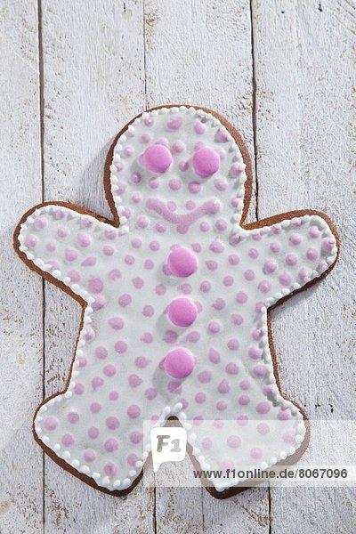 Mann Dekoration Lebkuchen pink Punkt
