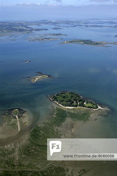 über  klein  Insel  Ansicht  Luftbild  Fernsehantenne  Morbihan