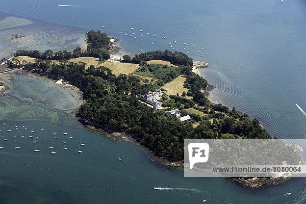 Verletzung der Privatsphäre  über  Insel  Ansicht  Luftbild  Fernsehantenne  Morbihan