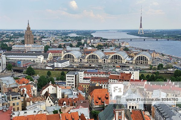 aerial view over the Dauvaga River and the Central Market from St-Peter´s church tower  Riga  Latvia  Baltic region  Northern Europe.