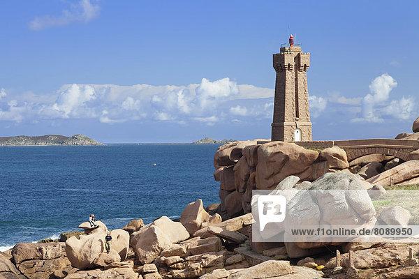 Phare de Ploumanac'h or Phare de Mean Ruz lighthouse on the Côte de Granit Rose or Pink Granite Coast