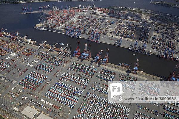 Luftbild  Containerterminal im Hafen Hamburg