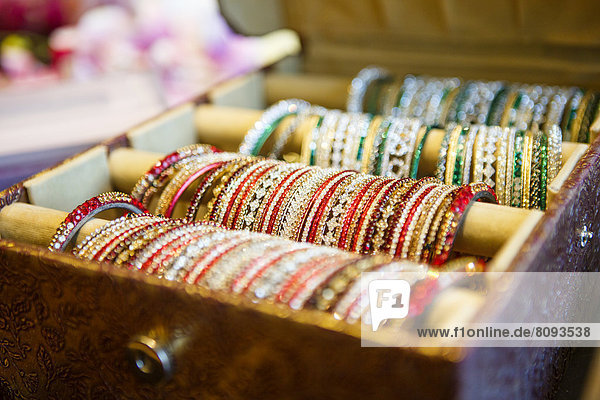 Close up of tray of bangles for sale