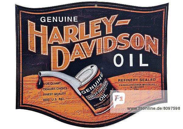 Nostalgisches Werbeschild für Öl von Harley Davidson Nostalgisches Werbeschild für Öl von Harley Davidson