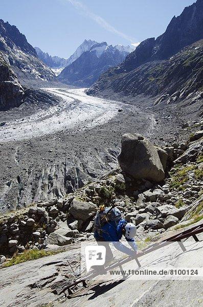 Climber at Mer de Glace glacier  Chamonix  Haute-Savoie  French Alps  France  Europe