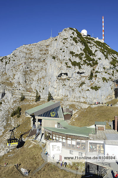 Germany  Bavaria  View of Wendelstein Mountain and cable car