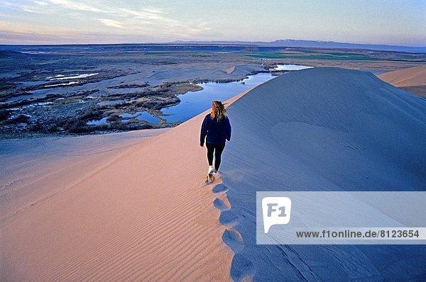 nahe  Sonnenuntergang  Stadt  wandern  Süden  Düne  Bruneau Dunes State Park  Idaho