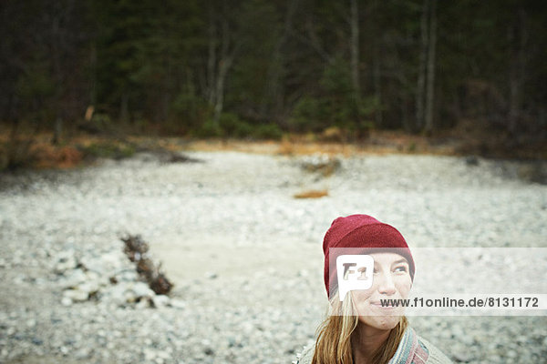 Portrait of woman in remote setting