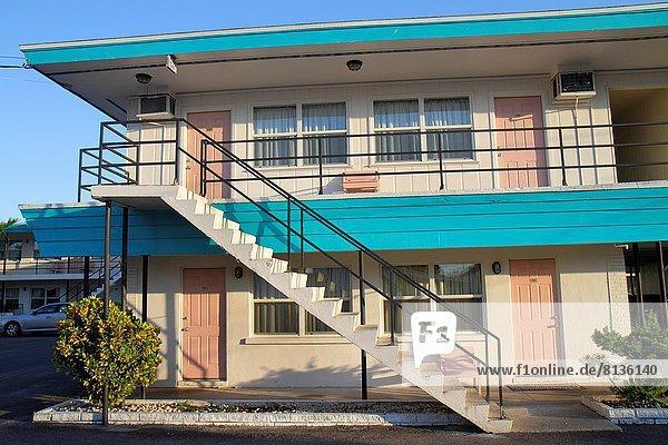 Florida  Saint St. Petersburg  Largo  Belleair Village Motel  budget  guest rooms  doors  stairs .