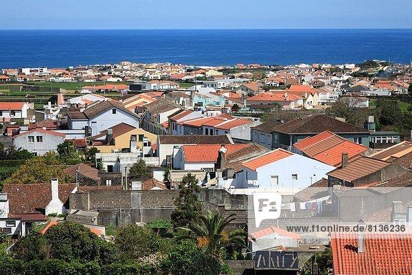 View of the parish of Santa Barbara and the city of Ribeira Grande. Sao Miguel  Azores islands  Portugal.