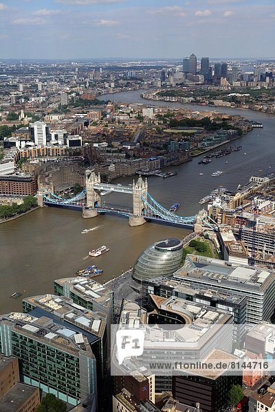 Tower bridge and cityscape from the Shard  London  UK.