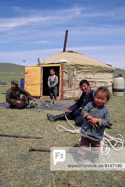 Wiese Mongolei Jurte