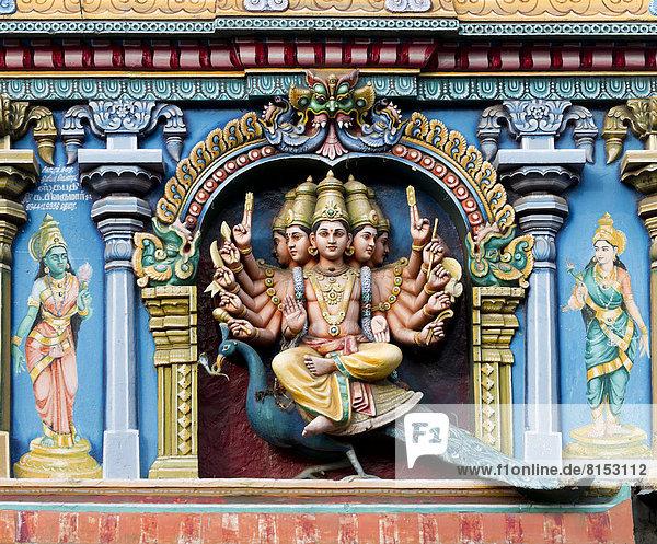 Hindu god Skanda or Murugan  also known as Karttikeya  Subramanya or Kumara with twelve arms and five heads on his mount  the peacock  on a temple wall  Meenakshi Amman Temple or Sri Meenakshi Sundareswarar Temple