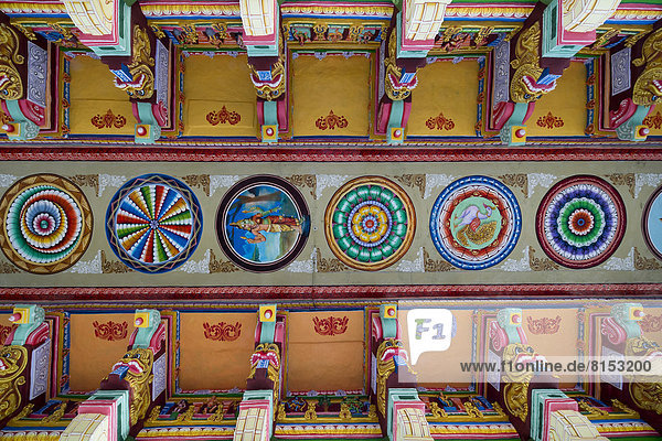 Colourfully painted ceiling  Ramanathaswami Temple