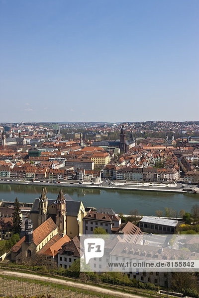 Germany  Bavaria  Wuerzburg  City View with Main River