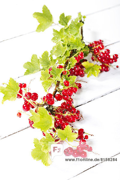 Red currants with shrubs on wooden table  close up