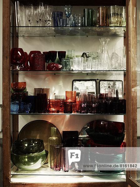 Various glassware in display