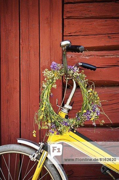 Blume  hängen  Blumenkranz  Kranz  Fahrrad  Rad