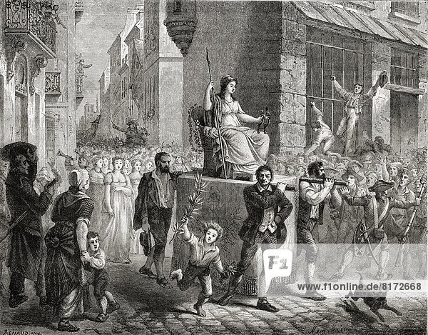 Procession Of The Goddess Of Reason  10 November 1793.Engraved By Meyer-Heine After Renaud.From Histoire De La Revolution Francaise By Louis Blanc.