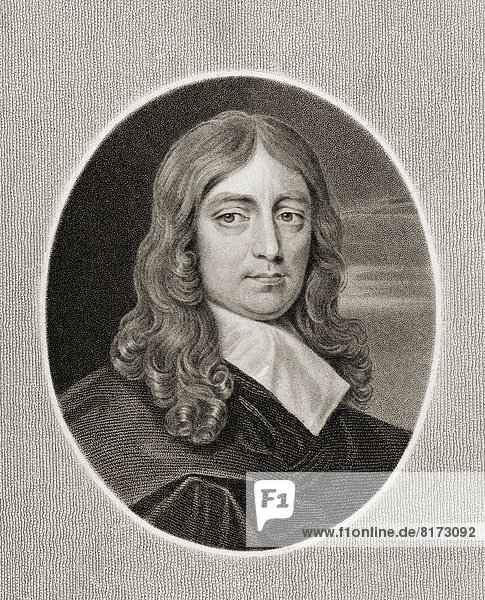 """John Milton 1608-1674. English Poet. From The Book """"Gallery Of Portraits Published London 1833."""