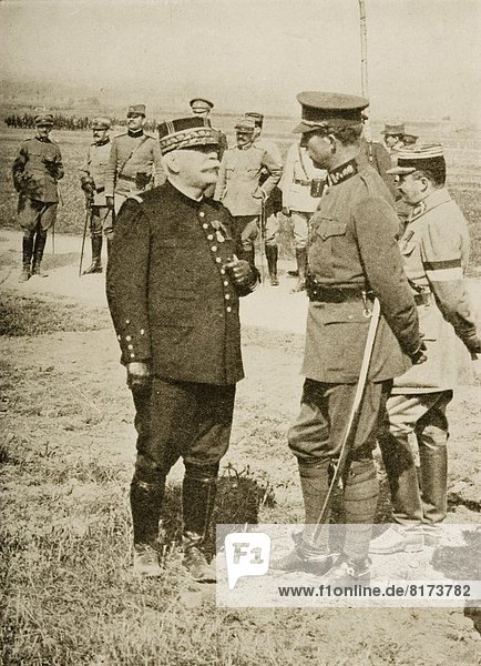 The National Heroes Of France And Belgium: A Meeting At The Front Between General Joffre (On The Left) And King Albert.