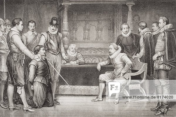"""The Gunpowder Plot. Guy Fawkes Interrogated By James I And His Council In The King's Bedchamber  Whitehall. Engraved By C.F.Merckel After Ralston.From The Book """"Illustrations Of English And Scottish History Volume 1"""