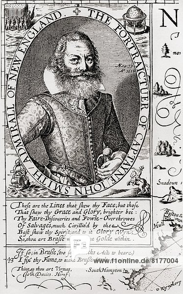 Captain John Smith C. 1580 To 1631  From His 1614 Map Of New England. Admiral Of New England Was An English Soldier  Explorer  And Author. From The Book Short History Of The English People By J.R. Green Published London 1893.