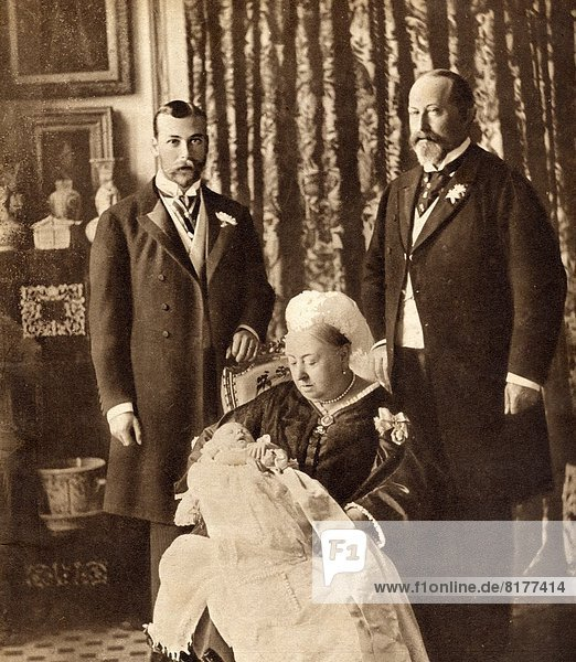 Four Generations Of The English Royal Family. Standing Left  The Future King George V  Standing Right  King Edward Vii  Seated Queen Victoria Holding The Future King Edward Viii. From His Majesty King Edward Viii Published 1936.
