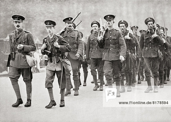 The Prince Of Wales  Later King Edward Viii  Leading His Company Of Grenadier Guards In Full Service Kit On A Route March. Edward Viii  Edward Albert Christian George Andrew Patrick David  Later The Duke Of Windsor  1894 – 1972. King Of The United Kingdom. From Edward Viii His Life And Reign.